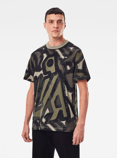 T-shirt Brushed Object Allover Loose