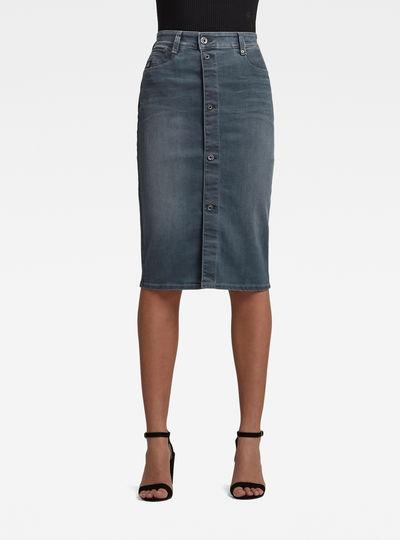 Noxer Navy Pencil Button Skirt