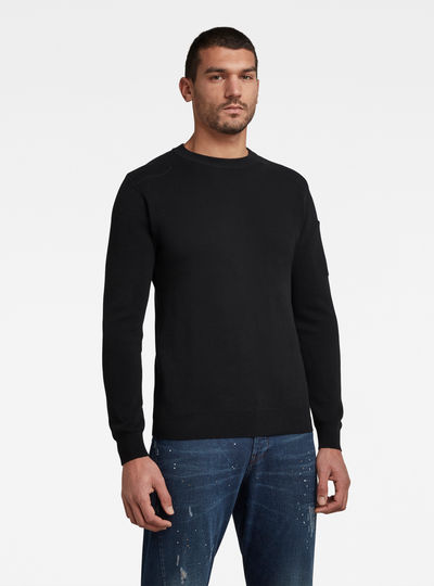 Sleeve Pocket Knitted Pullover