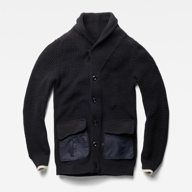 a528a753292 Filler Shawl Cardigan Knit | black/mazarine blue | G-Star RAW®