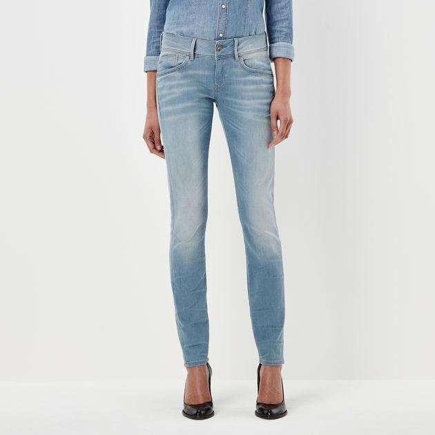 G STAR RAW Damen Skinny Jeans Lynn Mid COJ Wmn New Blau Lt