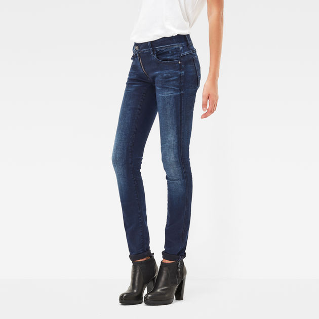 Lynn Zip Mid Waist Skinny Jeans | Dark Aged | Dames | G Star