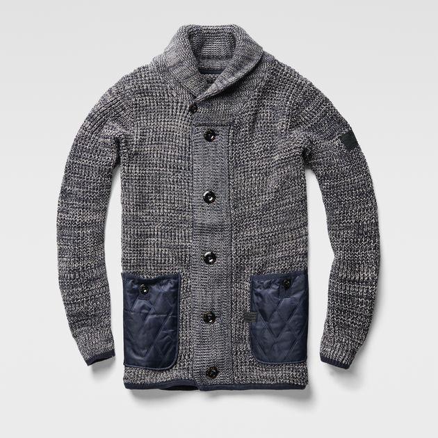 aa46b83fa30 Avihu Shawl Cardigan Knit | mazarine blue/mercury | G-Star RAW®