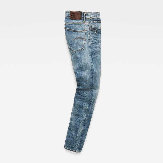 Slim Fit G-Star Herren Jeans 3301 Deconstructed Blau Lt Vintage Aged
