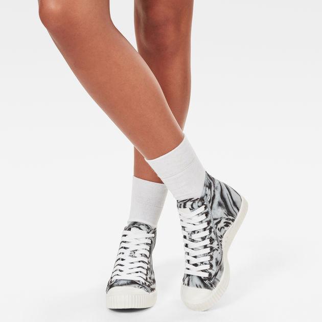 Rovulc Mid Sneaker | White Tiger Print