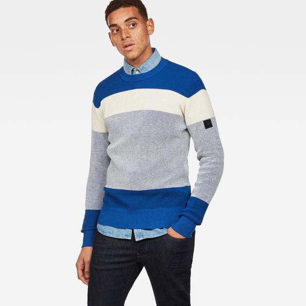 ffea1b8f404cf Block Stripe Knit   Hudson blue/Ivory   Men   G-Star RAW®