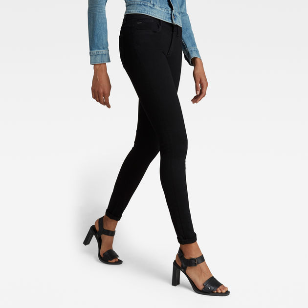 G Star Lynn D Mid Super Skinny Damen Jeans Hose Ultimate Stretch Denim Rinsed