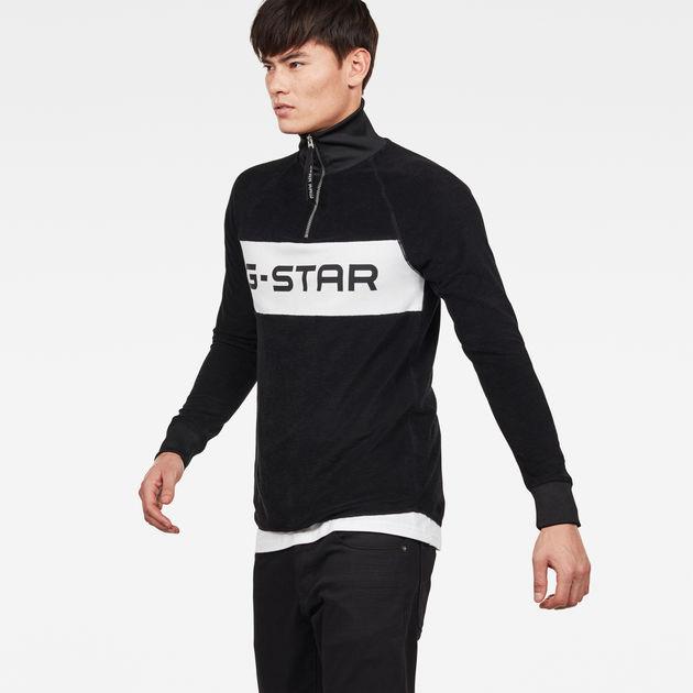 G Star Jirgi S Half ZIP Logo Sweat noir à acheter en ligne