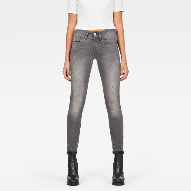 G Star Lynn Mid Waist Skinny Jeans Women light aged at