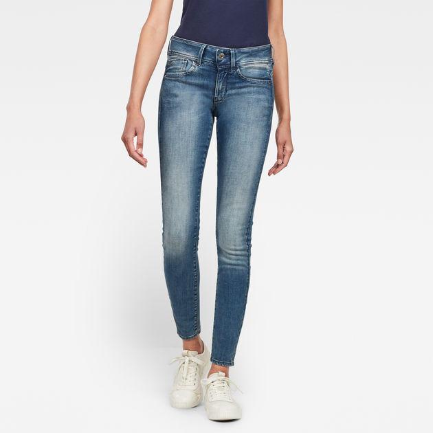 G-STAR RAW Damen Lynn Mid Waist Skinny WMN Jeans Super Stretch Denim Black Used