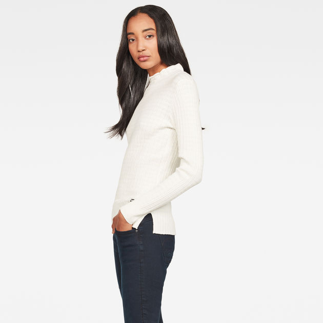 Top Silber Mock Turtle Knit | Milk | Mujeres | G Star RAW®