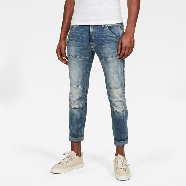 G-Star Raw 5620 3D Skinny Vintage Aged Destroy Blue Denim Jeans 51026 8969 9114