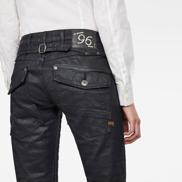 G Star Raw 96 Black  Heritage Embro Tapered Button-Fly Jeans