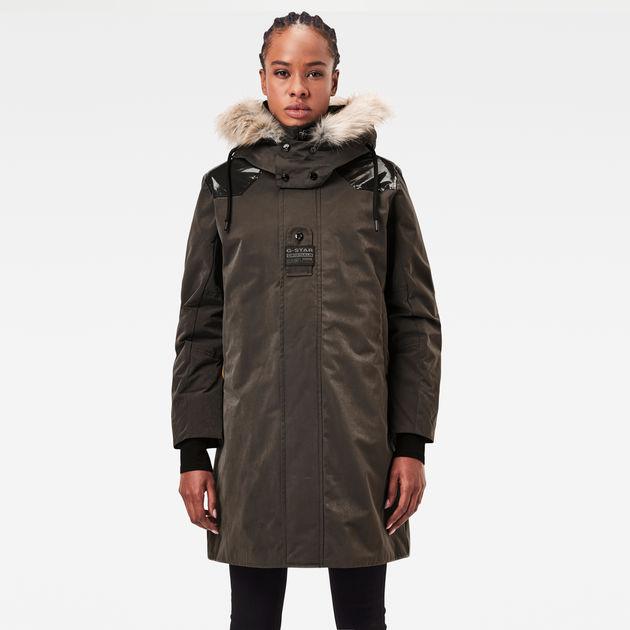 Tech Padded Hooded Faux Fur Long Jacket | Asfalt | G-Star RAW®