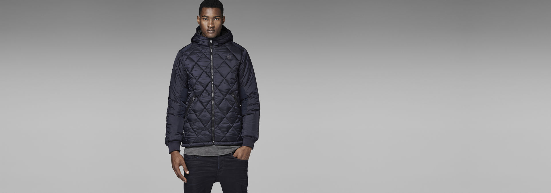 090da900926 G-Star RAW® FIBRICK HOODED JACKET Dark blue model front ...