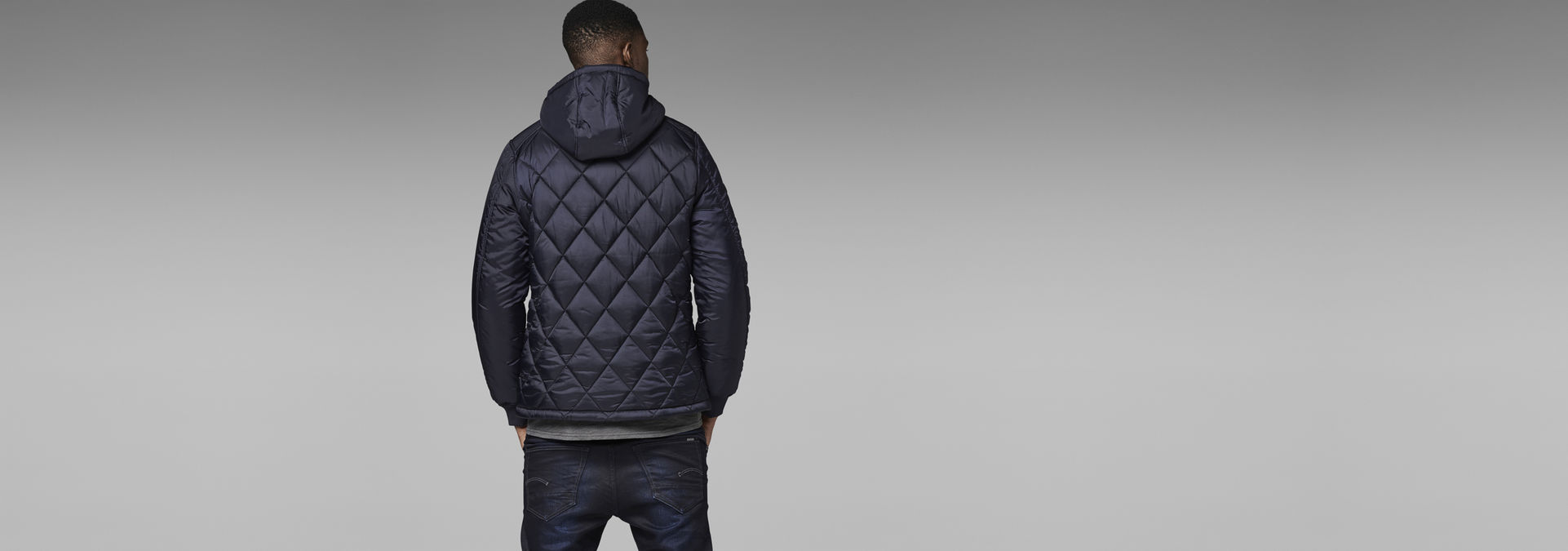 0a7bc1740e5 ... G-Star RAW® FIBRICK HOODED JACKET Dark blue model back ...