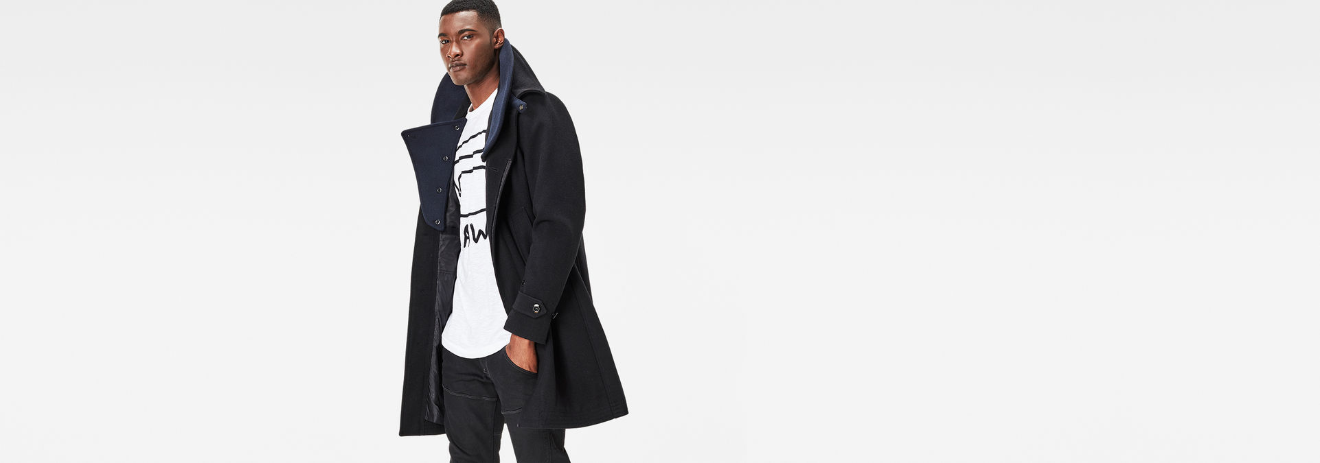 ee6fa5d4aada G-Star RAW® James Wool Trench Black model front .