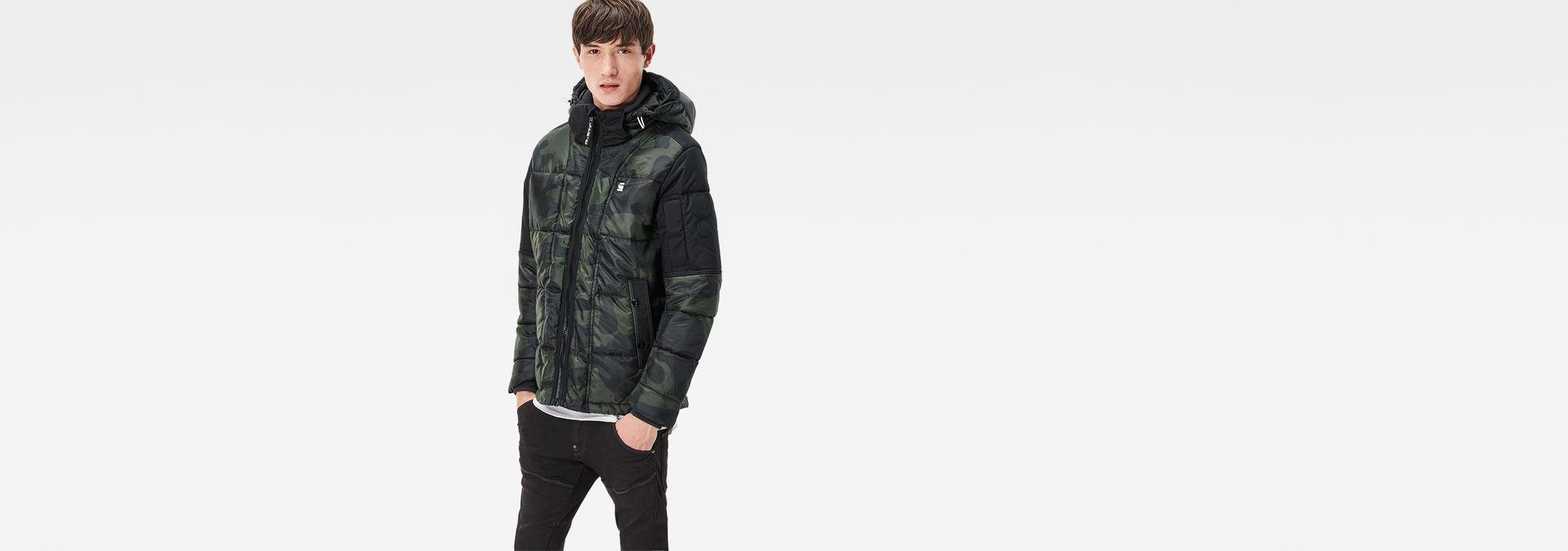 ba77ee7291788 ... G-Star RAW® Whistler Hooded Camo Jacket Green model side ...