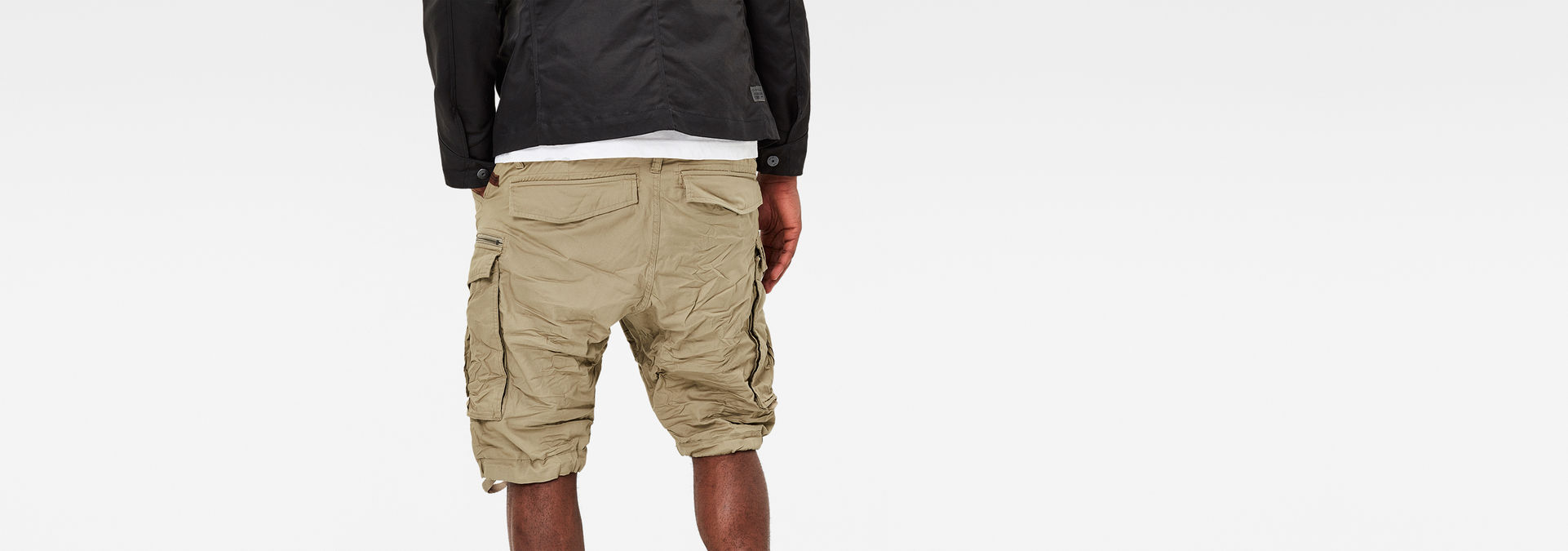 fab0195ed3 ... G-Star RAW® Rovic Zip 1/2 Shorts Beige model back ...