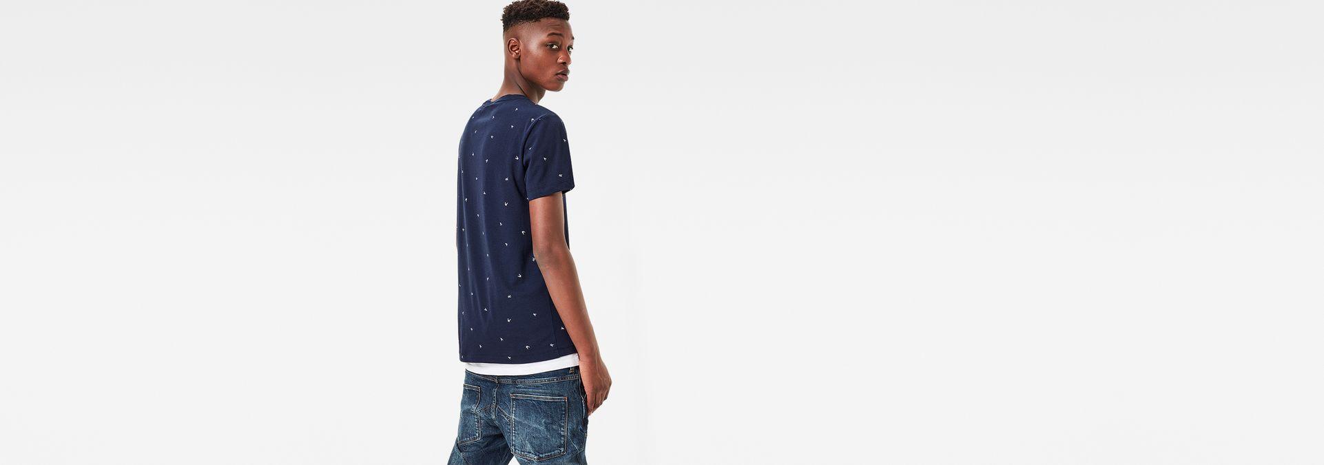 256f30d0b0f ... G-Star RAW® Manes Pattern T-Shirt Dark blue model back ...