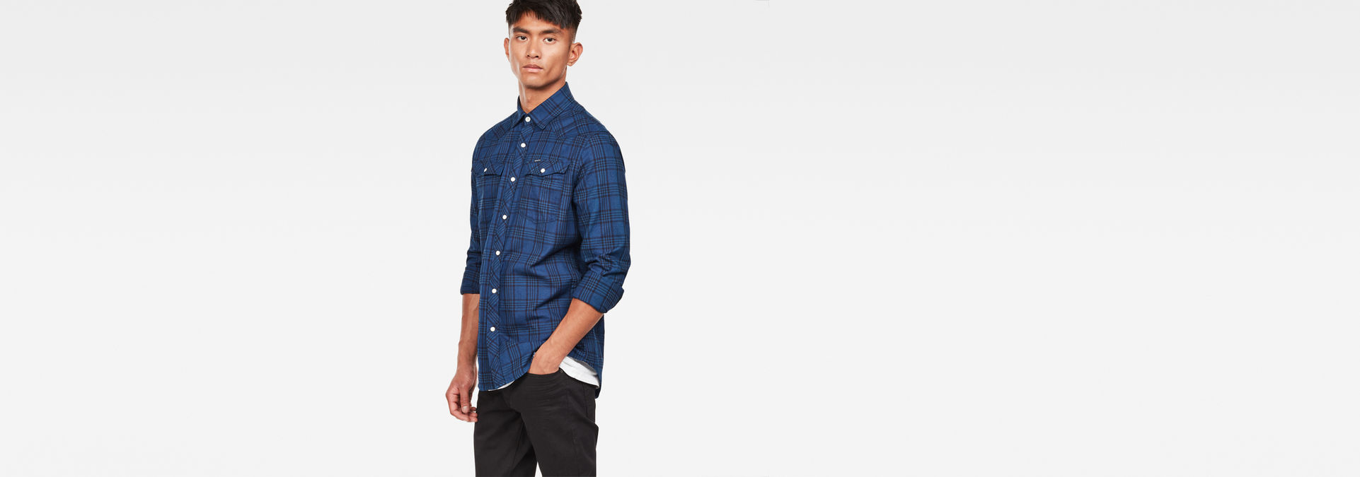 G-Star Men/'s Shirt 3301 Slim Fit Navy Blue M
