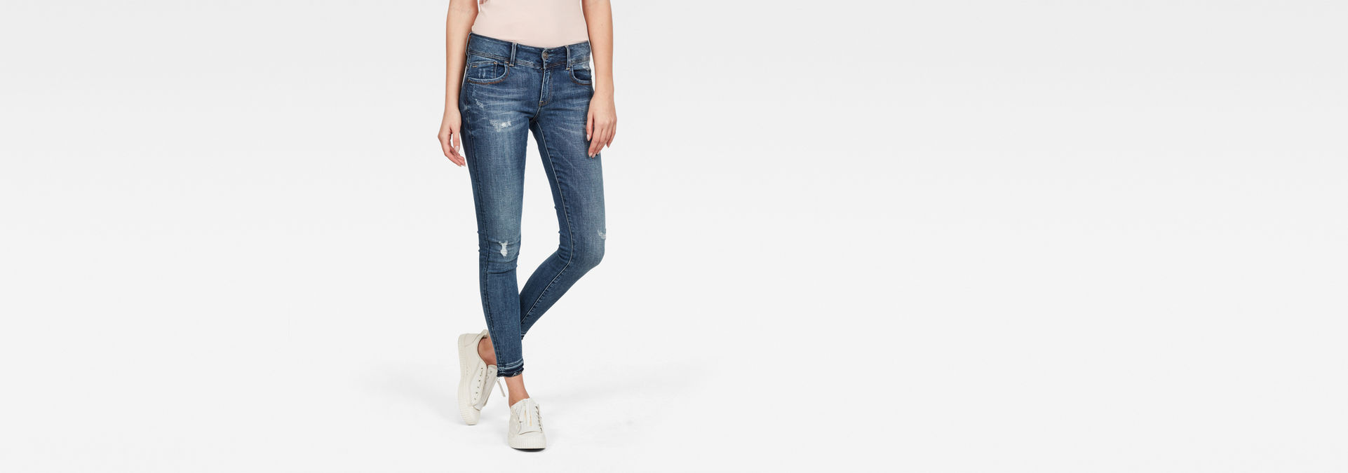 G Star RAW Denim Lynn Mid Waist Skinny Ripped Ankle Jeans in