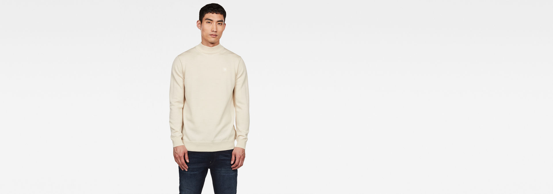 Pull Core Mock Turtle | Ivory | Hommes | G Star RAW®
