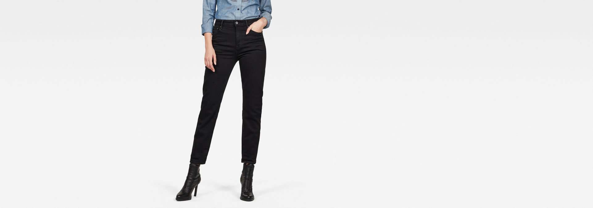 3301 High Straight 90's Ankle Jeans | Jet Black | G Star RAW®