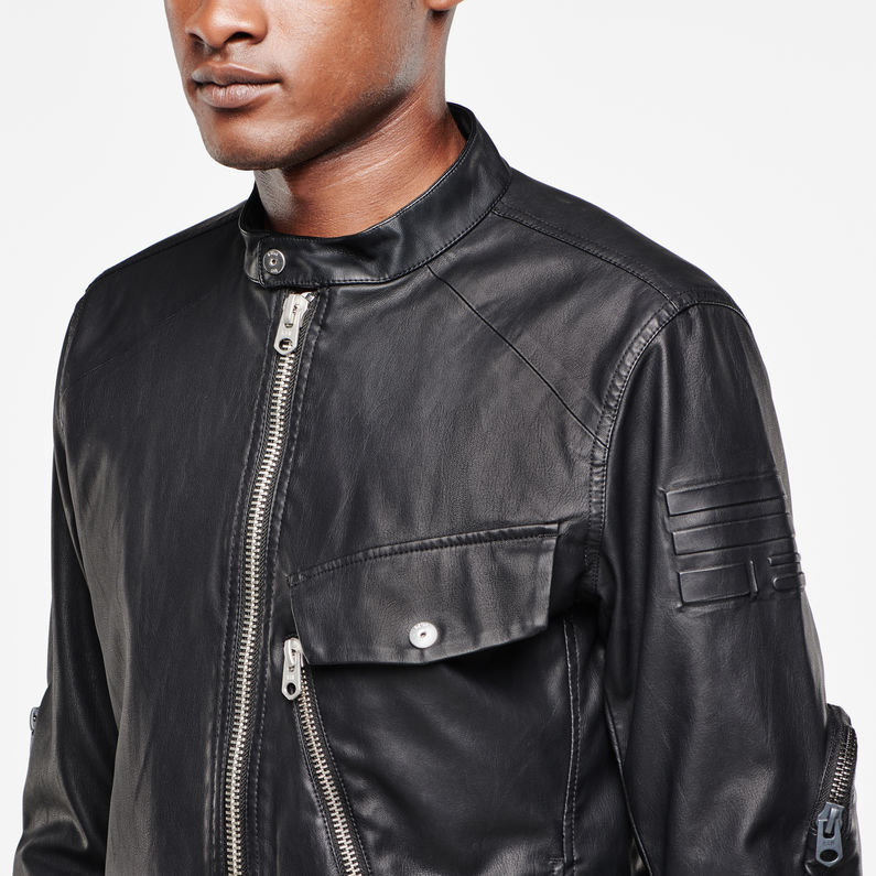 Revend 3D Slim Faux Leather Jacket | Black | Hommes | G Star