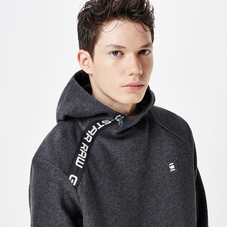 Core Zip Hooded Sweater | Black Heather | Hommes | G Star RAW®