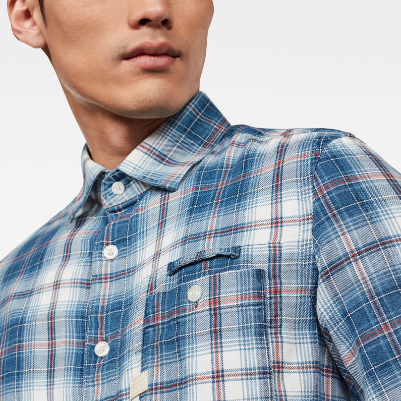 Indigo//White Check G-Star Raw Bristum 1 Slim Shirt
